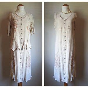 Kaktus Dresses - EUC VTG '90s Boho Embroidered Zigzag Top 2pc Dress